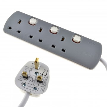 3 Gang Mains Extension Lead 3 Way UK Power Sockets Switched  10m