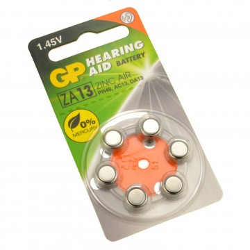 GP Hearing Aid Batteries ZA13 (PR48) Orange 1.4V 230mAh 5.4x7.9mm
