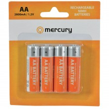 Mercury AA Rechargeable NiMH 2800mA 1.2V Batteries 4 Pack