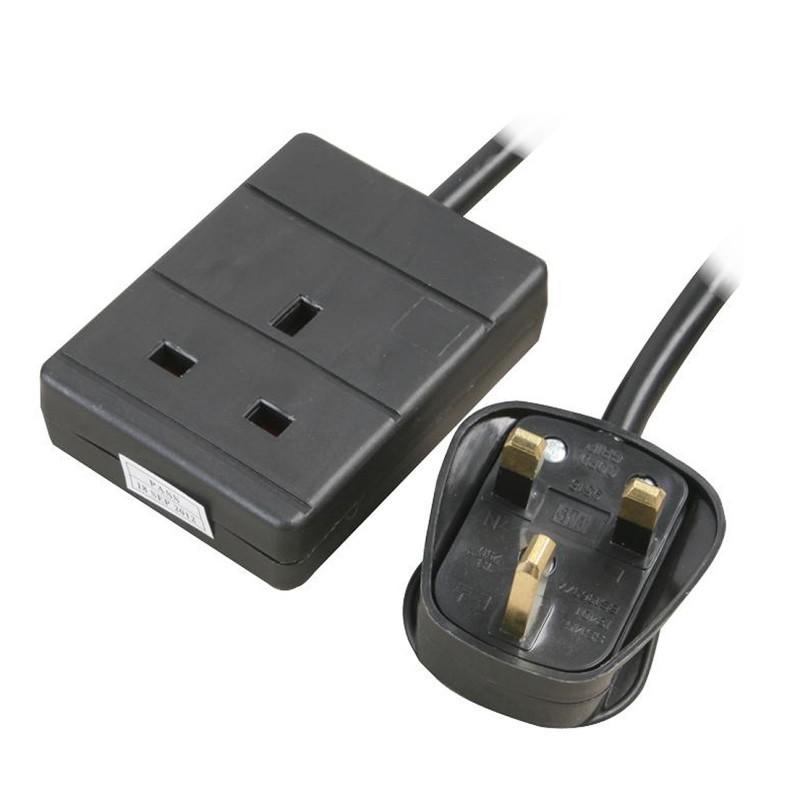 1 Gang Single Way UK 13A Mains Power Socket Extension Lead Black  0.5m