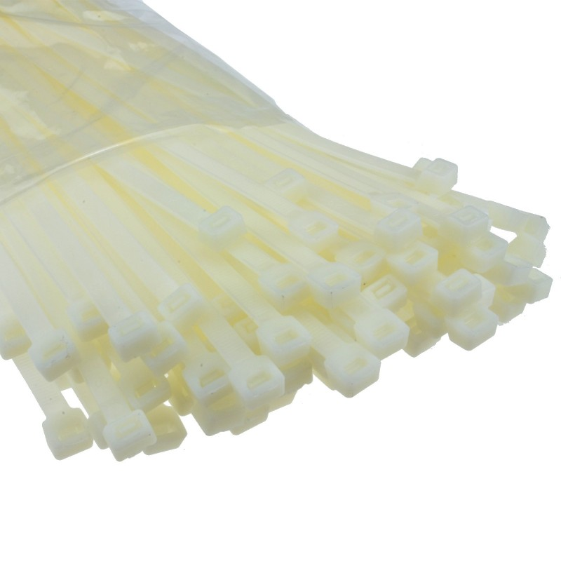 Natural Cable Ties 450mm x 7.5mm Nylon 66 UL Approved [100 Pack]