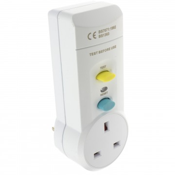 RCD 13 Amp UK Mains Socket Plug Power Adapter with Test & Reset Button