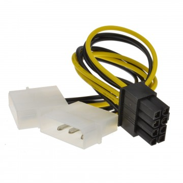 8 Pin PCI Express PCIe Power Cable from Dual 4 Pin Molex LP4 Adapter