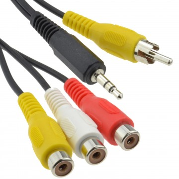 Phono RCA Red White Yellow Sockets to Composite Video with Audio Cable