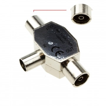 TV Freeview RF Coaxial Splitter Connects 1 Device to 2 TVs 0-1000MHZ