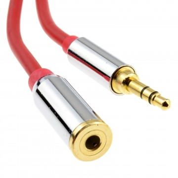PRO METAL RED 3.5mm Stereo Jack Headphone Extension Cable 2m