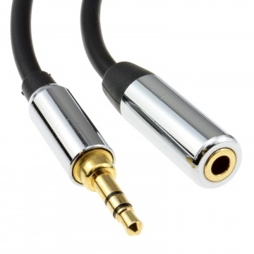 PRO METAL BLACK 3.5mm Stereo Jack Headphone Extension Cable 1m