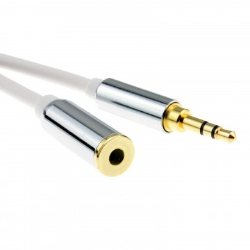 PRO METAL WHITE 3.5mm Stereo Jack Headphone Extension Cable  1m