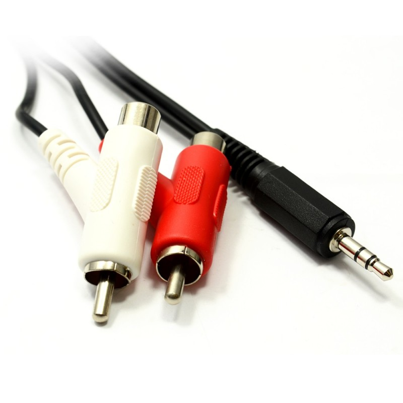 3.5mm Stereo Jack to Twin Right Angle RCA Phono STACKABLE  1.5m