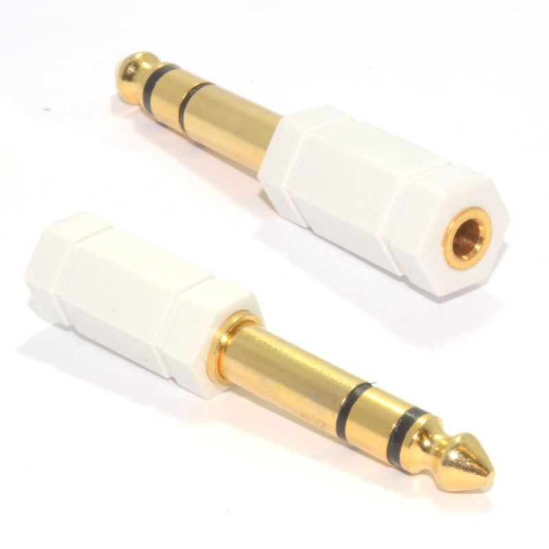 3.5mm Stereo Jack Socket to 6.35mm Stereo Jack Plug Adapter WHITE