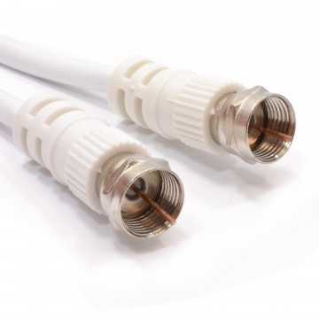 Satellite F Connector Plug to Plug 75 ohm RG59 Cable White...