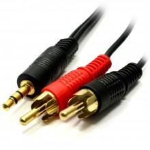 3.5mm Jack Plug to Left and Right Phono RCA Plugs Gold Audio...