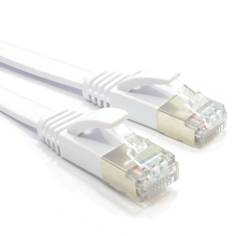 FLAT CAT6A S/STP Shielded 500MHz Ethernet LAN Cable RJ45  2m WHITE