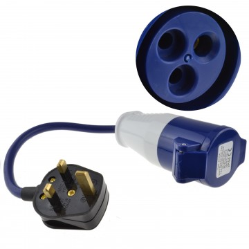UK Plug to Caravan Site Outdoor Power Electric Hook Up Adapter