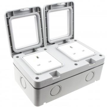Outdoor IP55 Weatherproof UK Power Supply Socket Outlet 2 Gang with Backbox