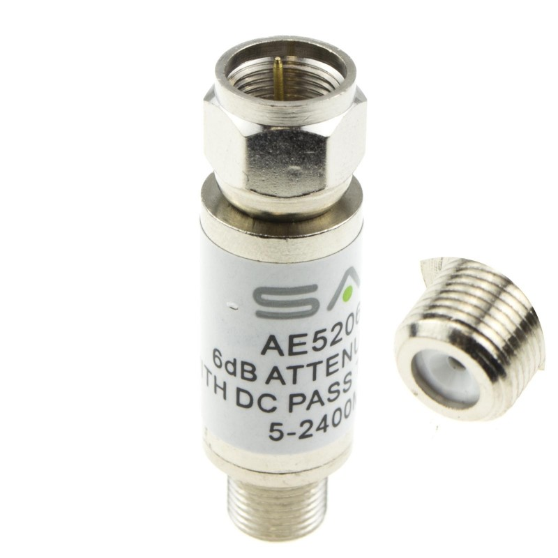 SAC F Type In-Line F Type Satellite Attenuator 2400MHz 6DB & DC Pass