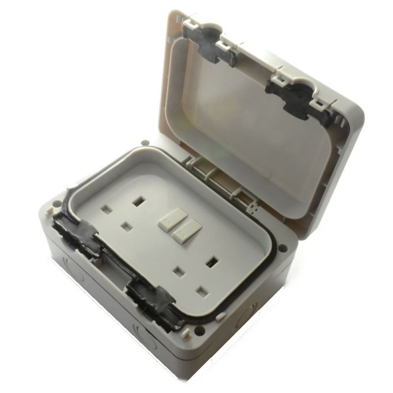 External 2 Gang Outdoor Switched Socket Power Supply
