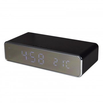 Digital Alarm Clock with 10W Fast Mobile Phone Wireless Charging Plate Black