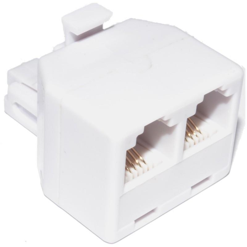 RJ11 4 Wire 2 Way Adapter Dual RJ11 Sockets to RJ11 Plug Splitter