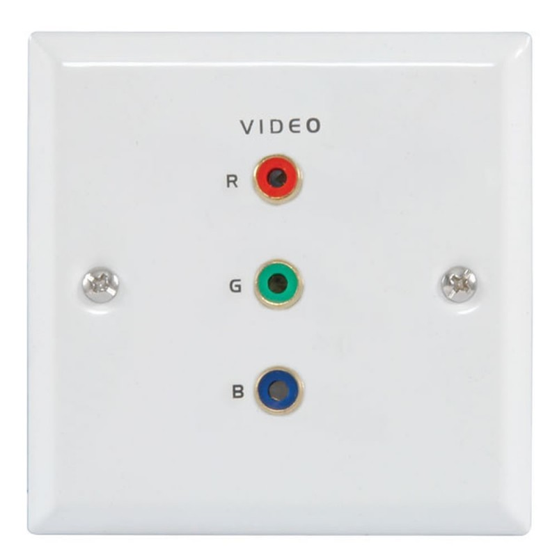 Flush Steel RGB Component Video Steel Wall Face Plate SOLDER White