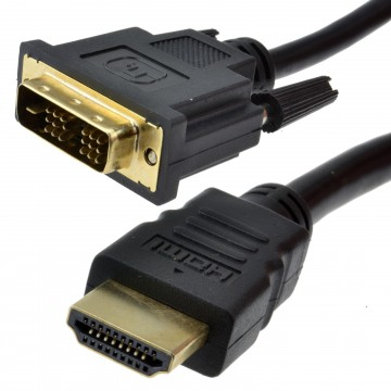 HDMI 19pin Male to DVI-D 18+1pin Male SCREENED Cable - 5m