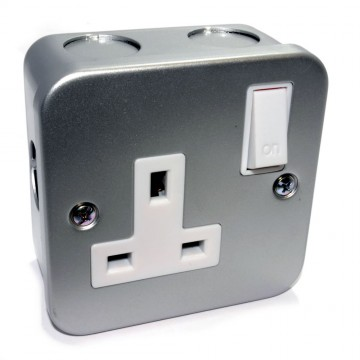 Single Gang Metal Clad Steel UK Mains Power Socket with Cable...