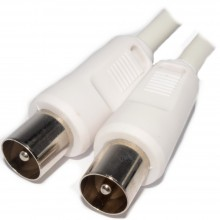 RF Fly Lead Coax TV Aerial Freeview Plug to Plug White Lead...