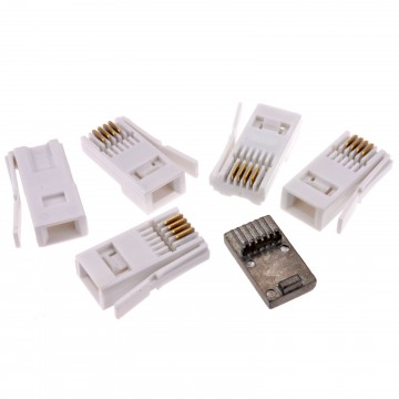 BT 4 Wire 431A Telephone Crimp End Connector  [5 Pack] & Metal...