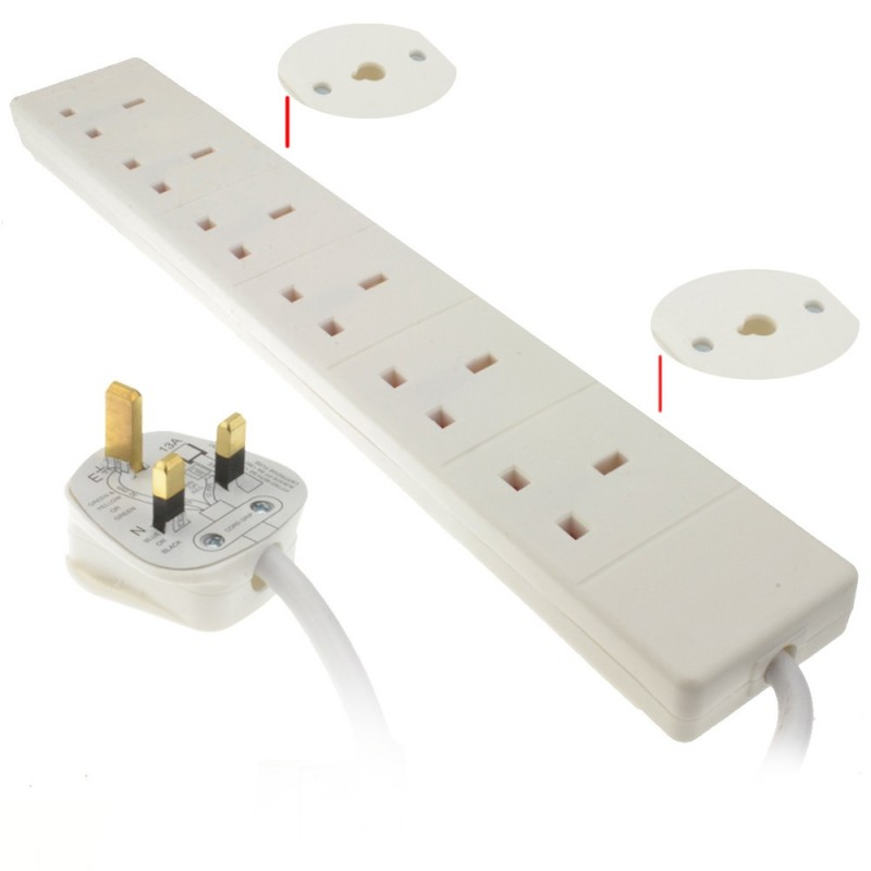 6 Gang Way UK 13A Trailing Socket Mains Power Extension Lead White  5m