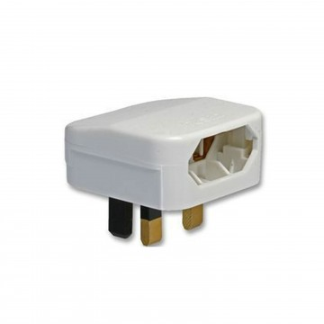 Europe Plug Socket to UK Plug Pins Travel Adapter 3 amps 3A Fused White