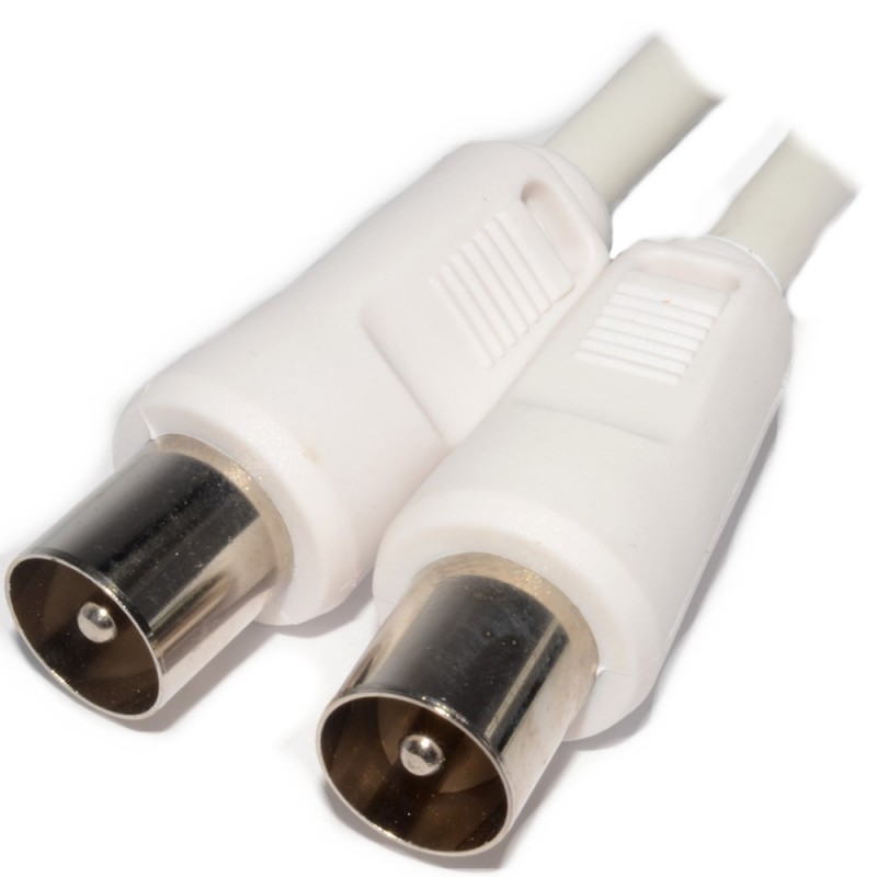 RF Fly Lead Coax TV Aerial Freeview Plug to Plug White Lead Cable 2m
