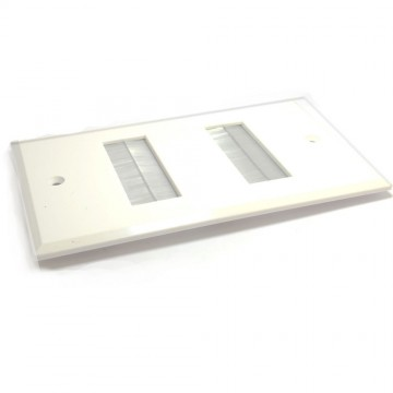 Cable Entry/Exit Slim BRUSH Faceplate Wall Outlet White UK Double Gang