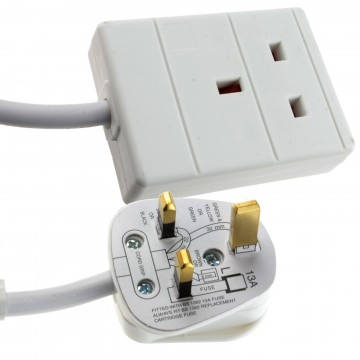 1 Gang Single Way UK 13A Mains Power Socket Extension Lead...