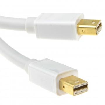 Mini DP DisplayPort Thunderbolt Male GOLD Plug to Plug White Cable 3m