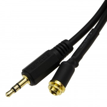 Panel Mount 3.5mm Male to Female Locking Nut Stereo Adapter Cable 0.15m