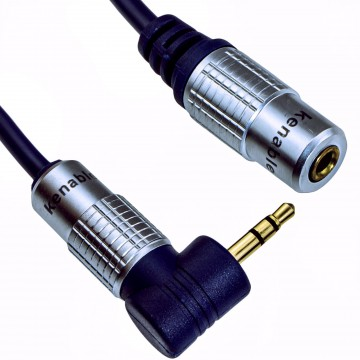 PURE Right Angle Elbow 3.5mm Stereo Jack Plug to Socket Cable 1m