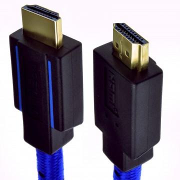 Prämie CERTIFIED UHD 4k HDR HDMI 2.0b Geflochten Kabel Blau 3 m