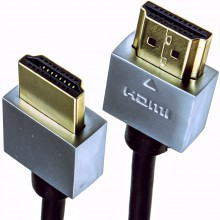 Ultra Slim Low Profile HDMI High Speed Cable Gold for HD TV Metal Ends 2m