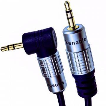 PURE Right Angle 3.5mm Stereo Jack to Jack Cable Gold  1m