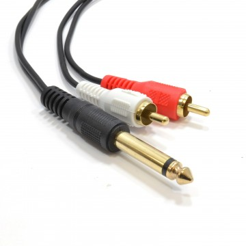 6.35mm Mono Jack Plug to Phono RCA Plugs SCREENED Audio Cable 1m