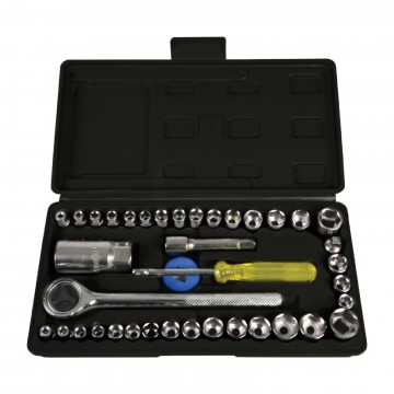 40 Piece Ratchet Socket Set (Metric and Imperial) with Storage...