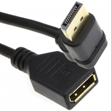 Right Angle DisplayPort v1.2 Plug to Socket Monitor Extension...