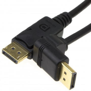 Right Angle DisplayPort v1.2 Plug to Straight Plug Monitor...