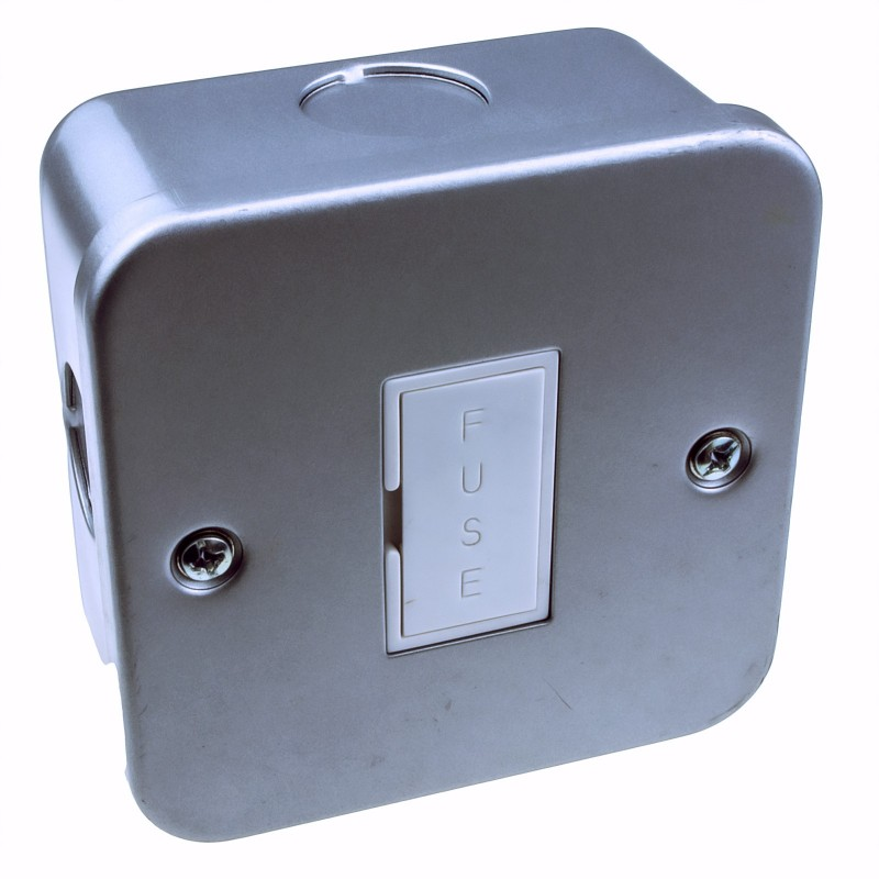 Single Gang Metal Clad Steel Unswitched 13A Fuse FCU Box with Cable Entry Points