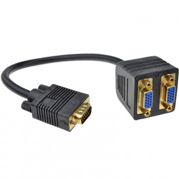 HQ Male VGA to 2 x Female VGA Splitter Gold Connections 20cm