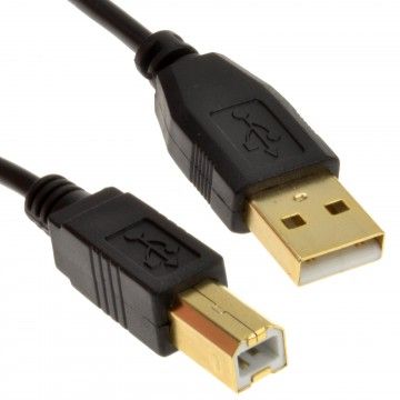 GOLD 24AWG USB 2.0 High Speed Cable Printer Lead A to B BLACK  1m