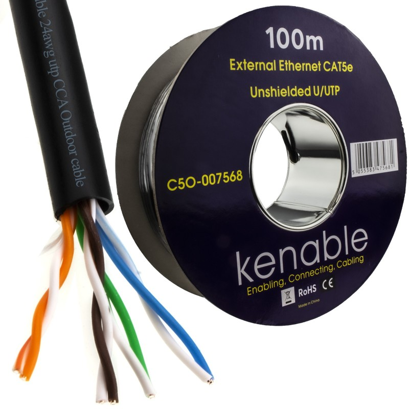 External CAT5e-CCA Outdoor Use Ethernet Network Cable Reel UTP 100m