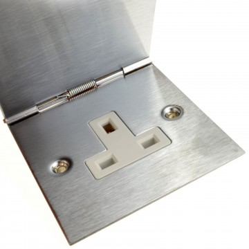 13A Hinged Single Gang Mains Power 240V Outlet Socket Brushed Stainless Steel